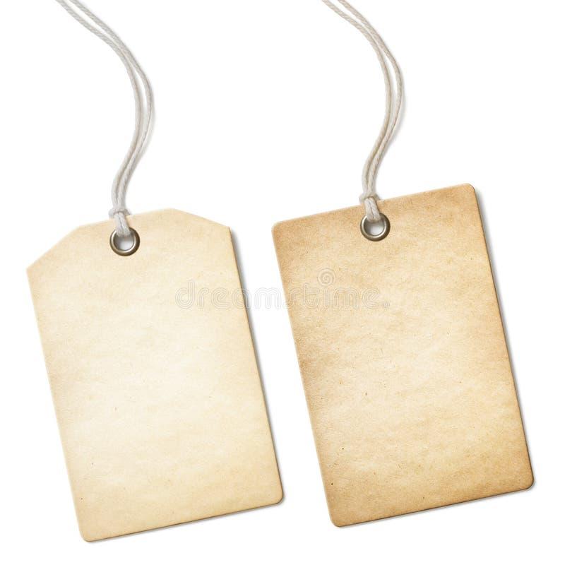 Grupo de papel velho vazio do preço ou de etiqueta isolado sobre fotos de stock royalty free
