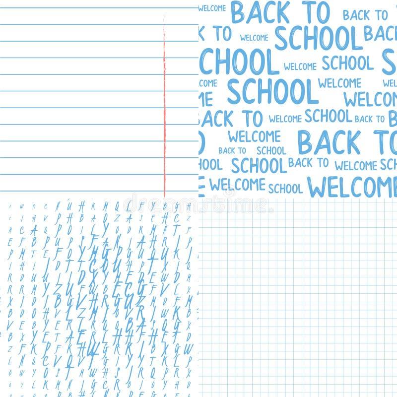 Grupo de papel vertical do teste padr?o da folha do caderno da escola As palavras dão boas-vindas de volta ao teste padrão sem em ilustração do vetor