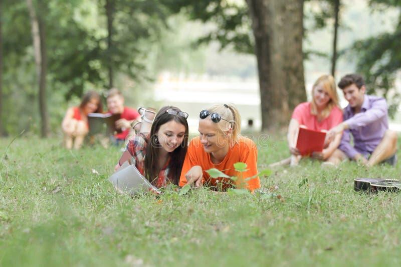 Grupo de pares do estudante que preparam-se para exames no parque da cidade foto de stock