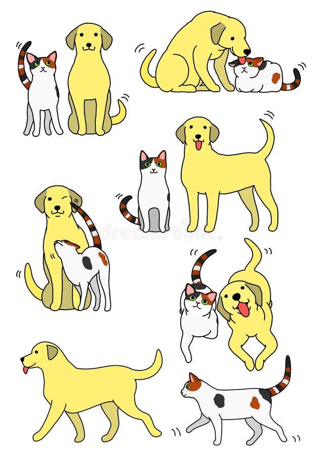 Grupo de pares do gato e do cão ilustração do vetor