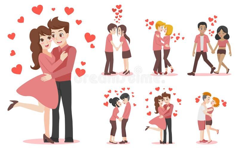 Grupo de pares dos desenhos animados dos caráteres de amante para o dia de Valentim do amor imagens de stock royalty free