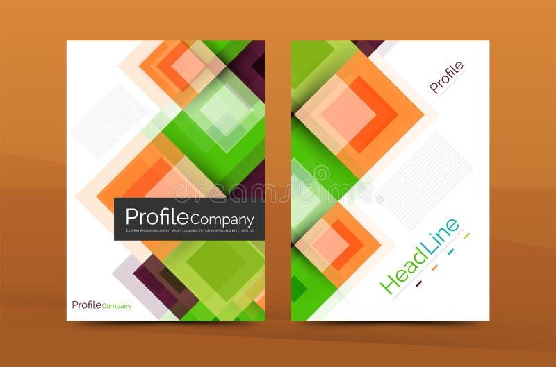 Grupo de parte dianteira e de páginas traseiras do tamanho a4, moldes do projeto do informe anual do negócio ilustração royalty free