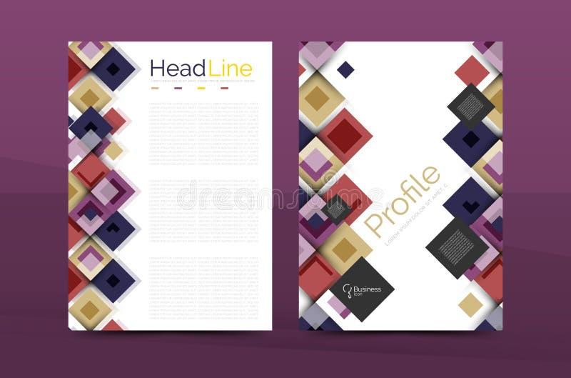 Grupo de parte dianteira e de páginas traseiras do tamanho a4, moldes do projeto do informe anual do negócio ilustração stock