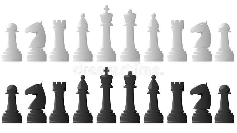 Grupo de partes de xadrez. ilustração do vetor
