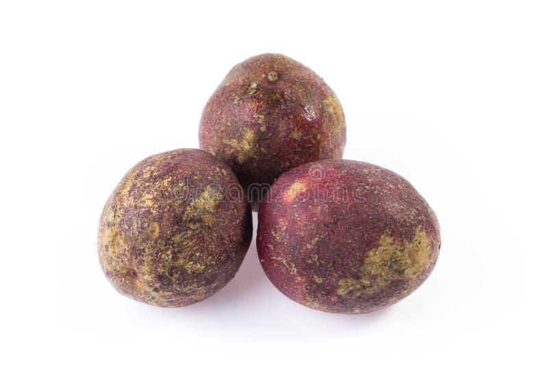 Grupo de passionfruit roxo fotografia de stock