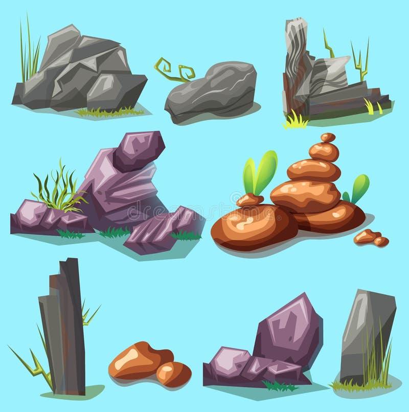 Grupo de pedras dos desenhos animados com grama ilustração do vetor