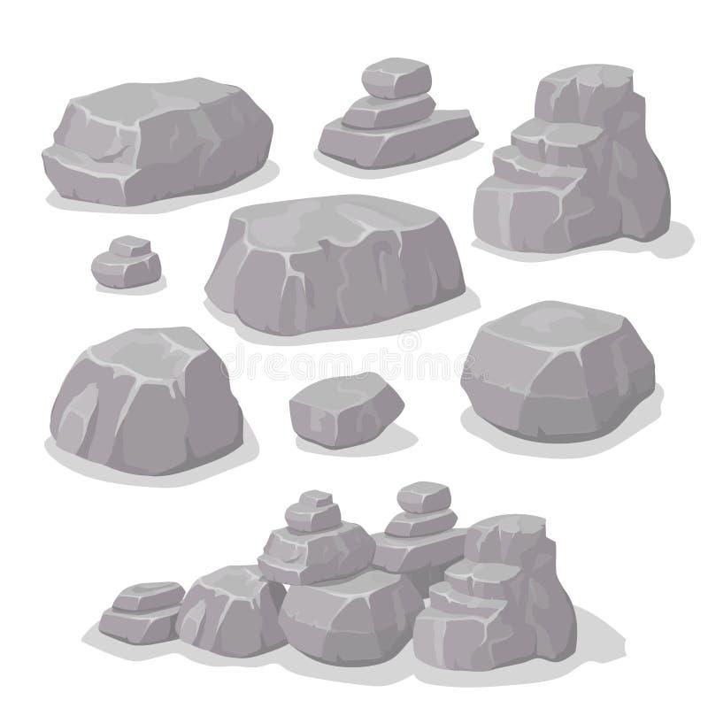 Grupo de pedras, grupo diferente do estilo dos desenhos animados das formas dos elementos da rocha, projeto liso, vetor isométric ilustração stock
