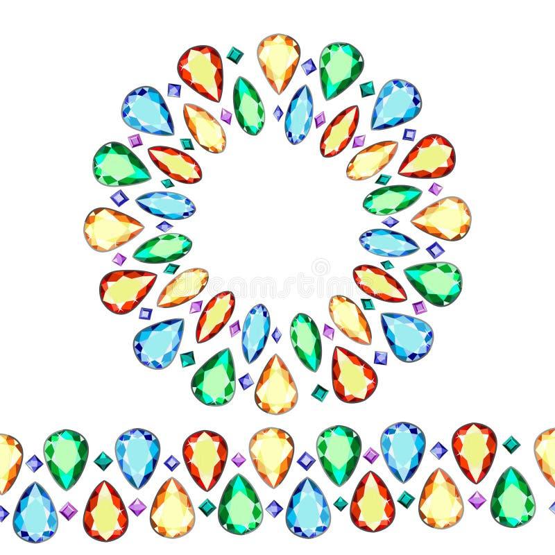 Grupo de pedras preciosas coloridos Grinalda de diamantes coloridos ilustração royalty free