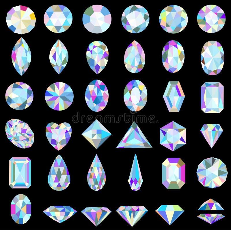 Grupo de pedras preciosas de cortes e de cores diferentes ilustração royalty free