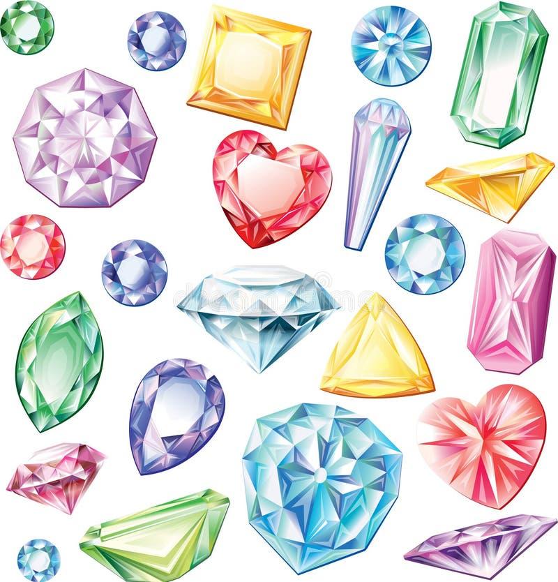 Grupo de pedras preciosas de cortes diferentes ilustração stock