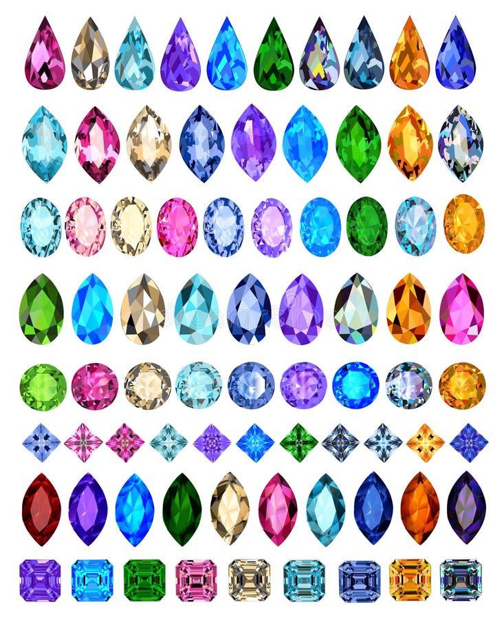 Grupo de pedras preciosas de cortes e de cores diferentes fotos de stock