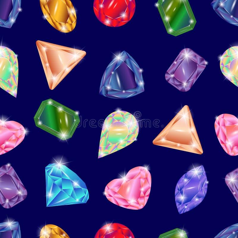 Grupo de pedras preciosas diferentes, teste padrão sem emenda ilustração do vetor