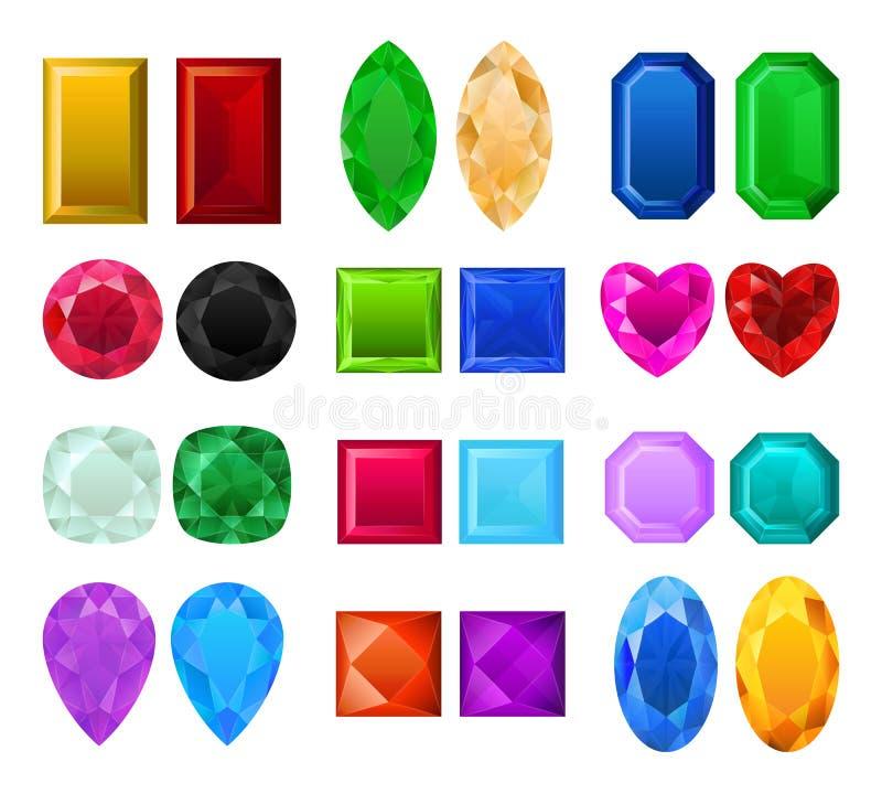 Grupo de pedras preciosas realísticas ilustração stock