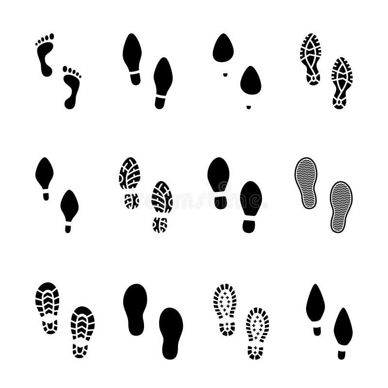 Grupo de pegadas e de ícones dos shoeprints ilustração do vetor