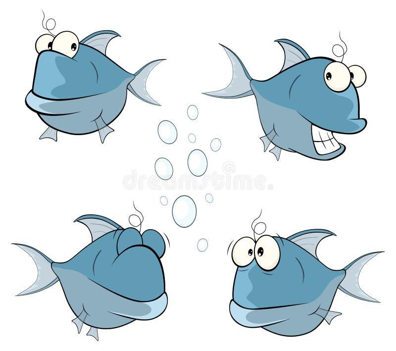 Grupo de peixes bonitos das águas profundas dos desenhos animados ilustração stock