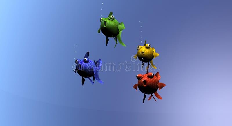 Grupo de peixes coloridos ilustração stock