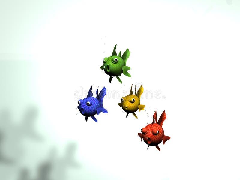 Grupo de peixes coloridos ilustração royalty free