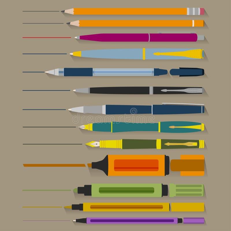 Grupo de penas e de marcadores dos lápis ilustração royalty free