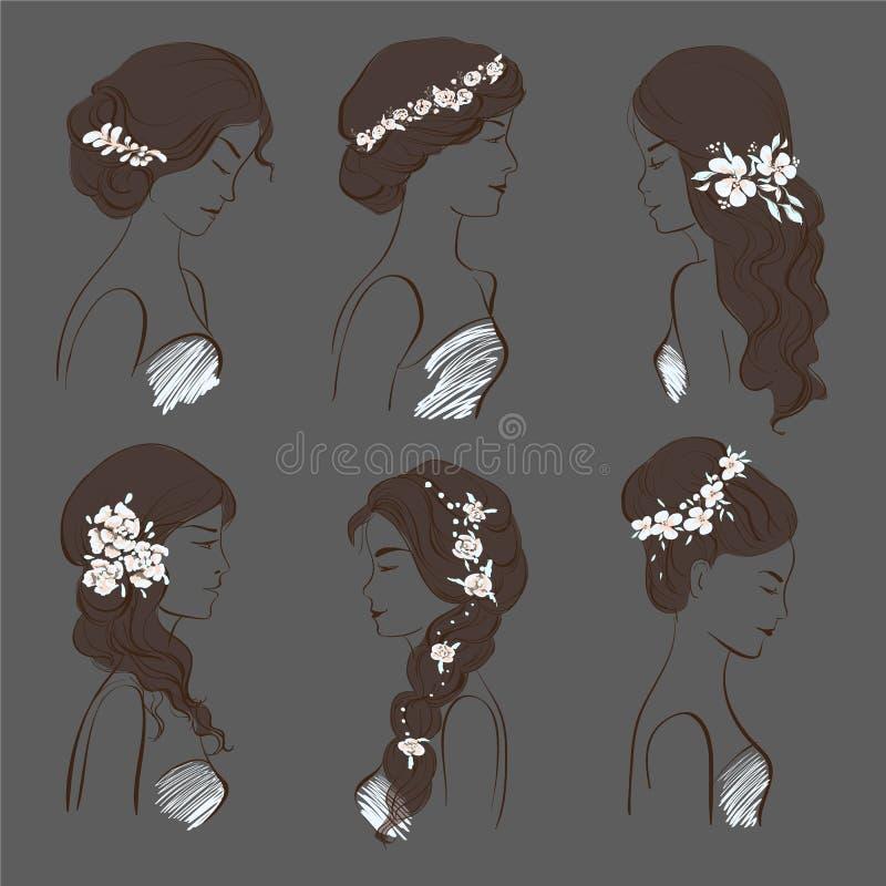 Grupo de penteados diferentes do casamento para morenas com flores em um fundo escuro ilustração royalty free