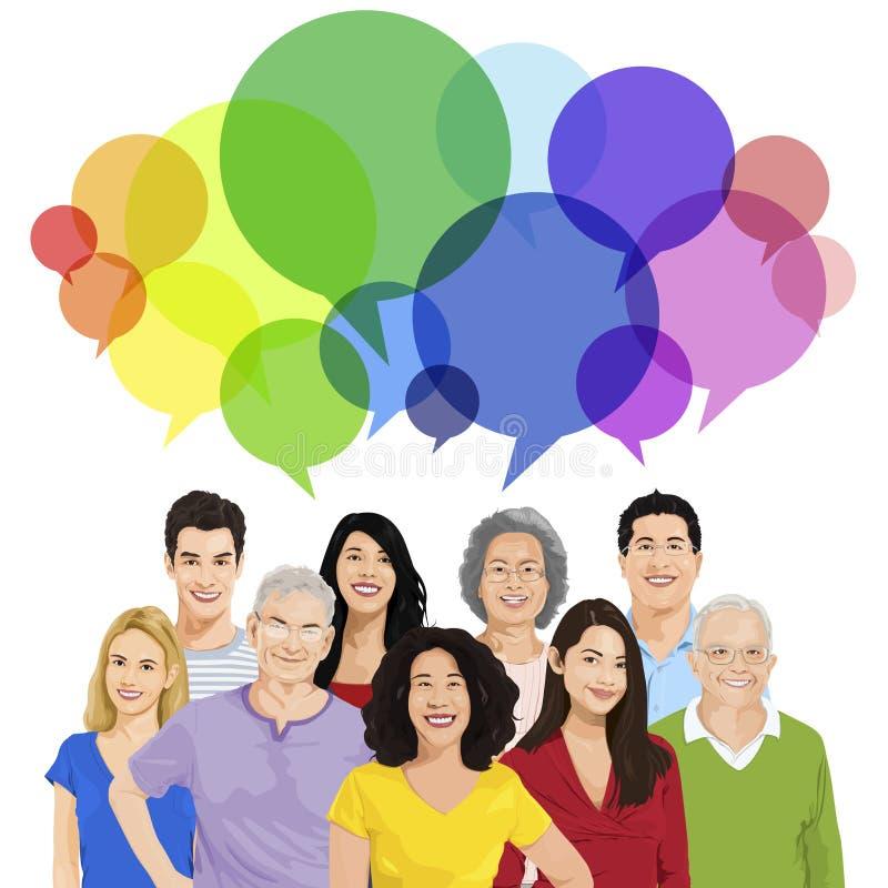 Grupo de Peopl com bolha do discurso ilustração stock