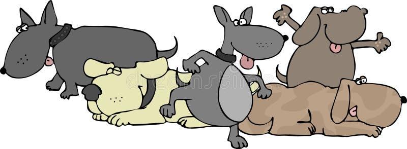 Grupo de perros stock de ilustración