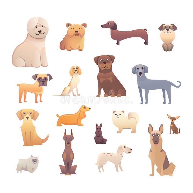 Grupo de perros criados en línea pura El ejemplo para los cursos de aprendizaje del perro, la página del aterrizaje del club de l ilustración del vector