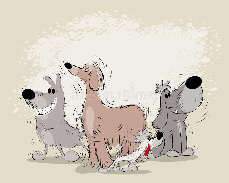 Grupo de perros de la historieta ilustración del vector