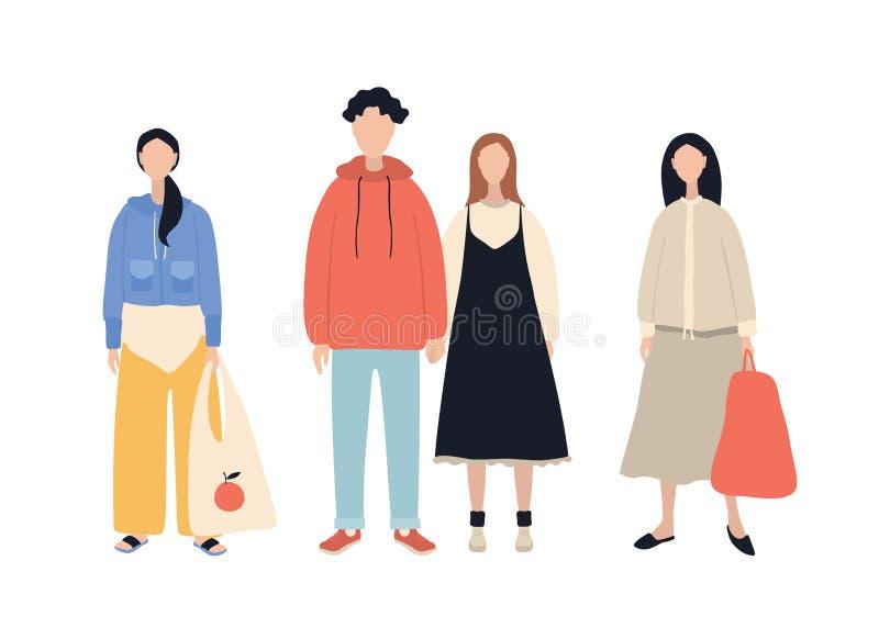 Grupo de personagens de banda desenhada à moda que vestem os homens e as mulheres da roupa ocasional isolados no fundo branco ilustração royalty free