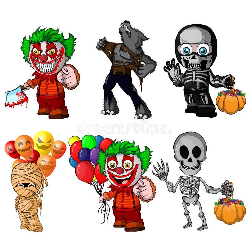 Grupo de personagens de banda desenhada para o Dia das Bruxas ilustração do vetor