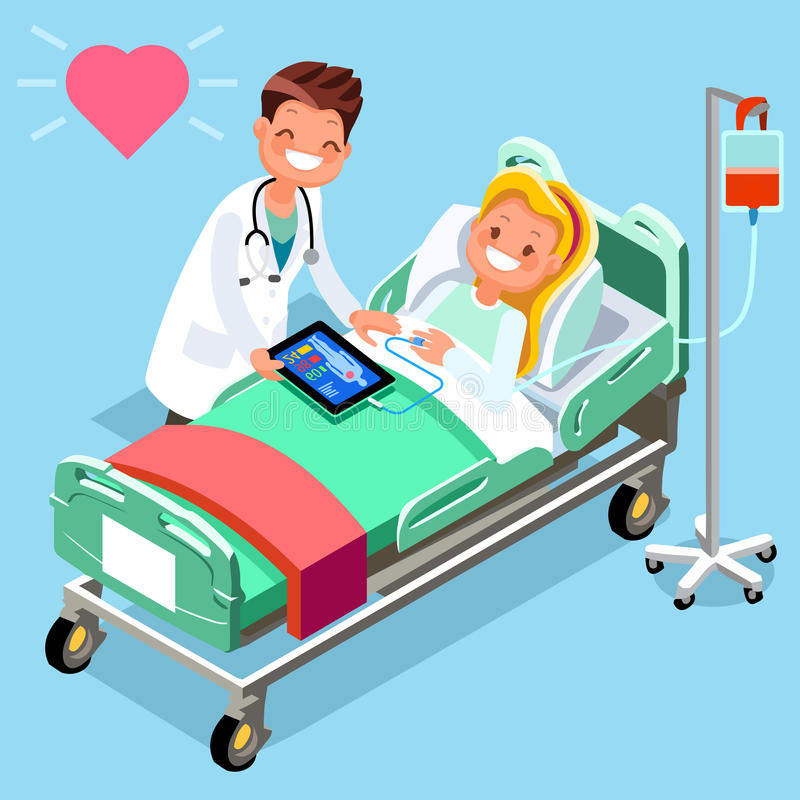Grupo de personal médico isométrico de vector del doctor y del paciente stock de ilustración
