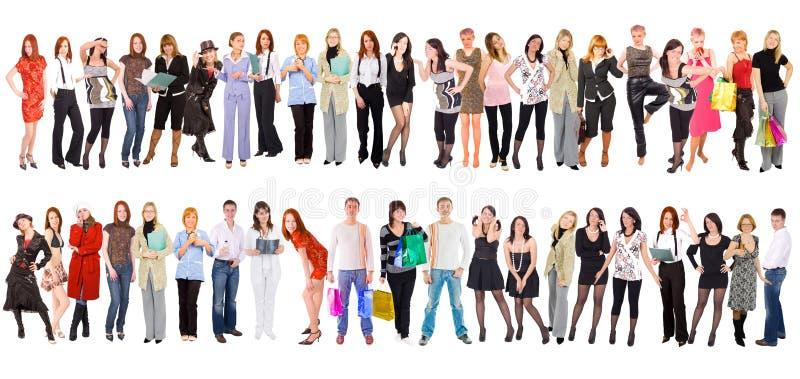 Grupo de personas aislado sobre blanco imagenes de archivo
