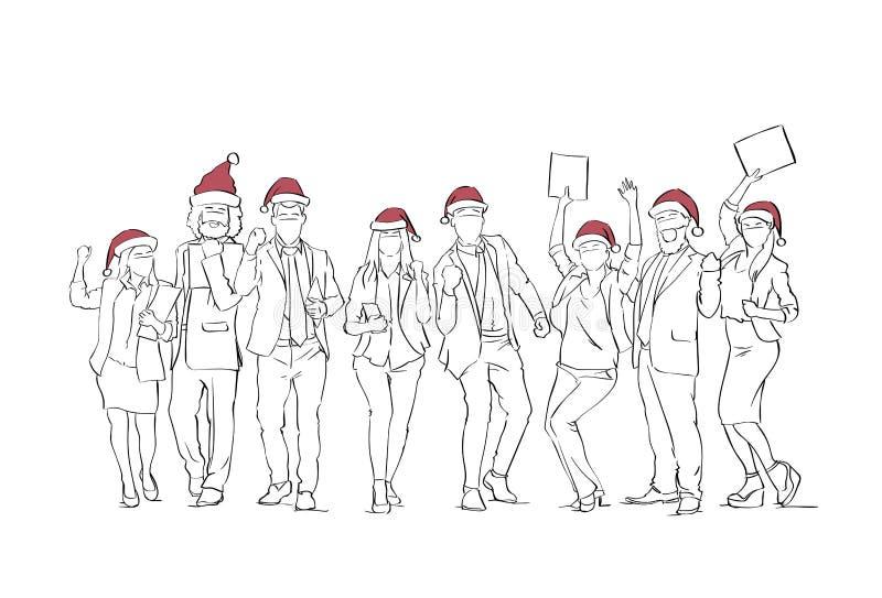 Grupo de personas alegre que lleva bosquejos del ser humano de las vacaciones de invierno de Santa Hats Celebrating Merry Christm libre illustration
