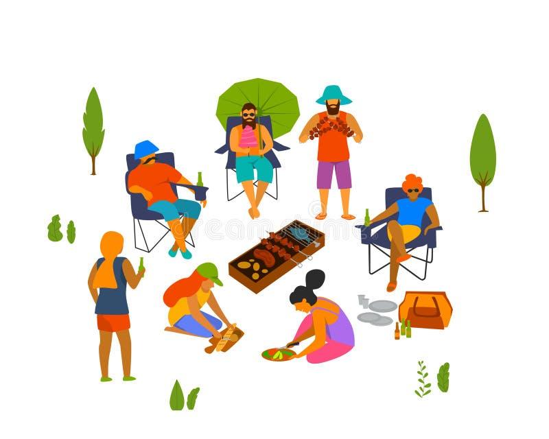 Grupo de personas, amigos que asan a la parrilla haciendo la barbacoa, cocinando preparando la comida al aire libre stock de ilustración