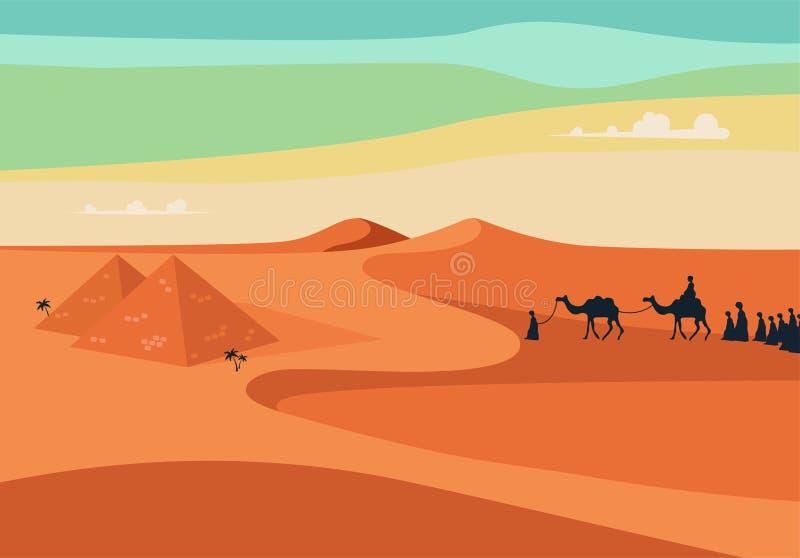 Grupo de personas con el montar a caballo de la caravana de los camellos en arenas anchas realistas del desierto en Egipto Ilustr stock de ilustración