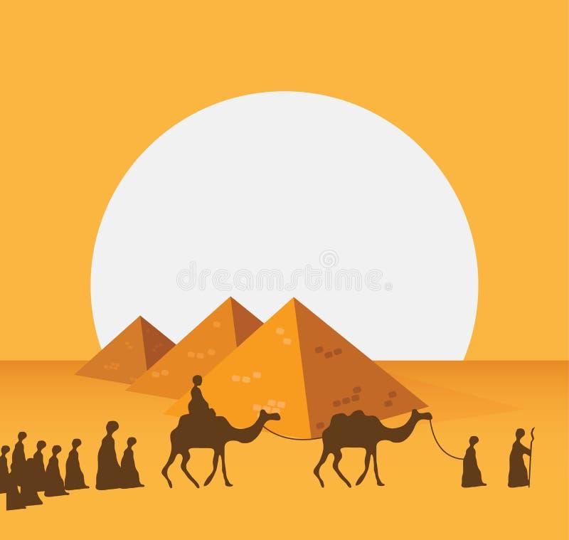 Grupo de personas con el montar a caballo de la caravana de los camellos en arenas anchas realistas del desierto en el ejemplo Ed stock de ilustración
