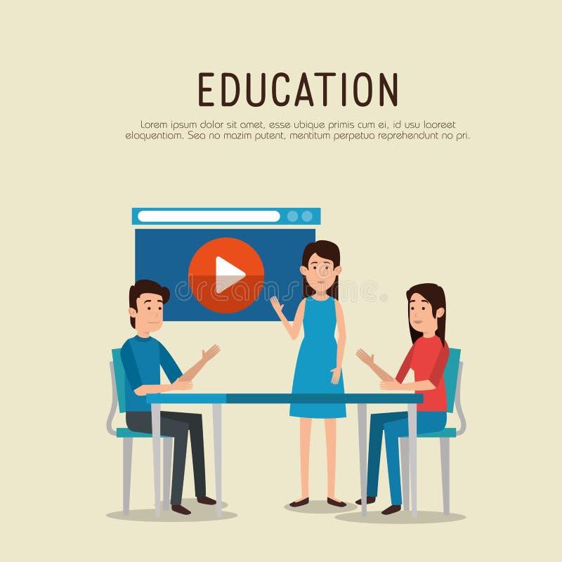 Grupo de personas con los iconos en línea de la educación stock de ilustración