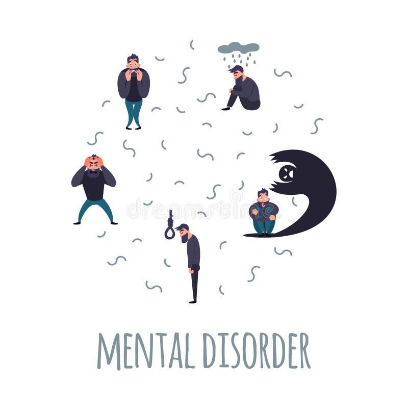 Grupo de personas con problema psiquiátrico ilustración del vector