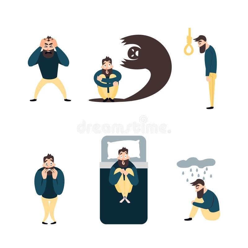 Grupo de personas con psicología o problema psiquiátrico Hombres de la enfermedad en desorden de ansiedad stock de ilustración