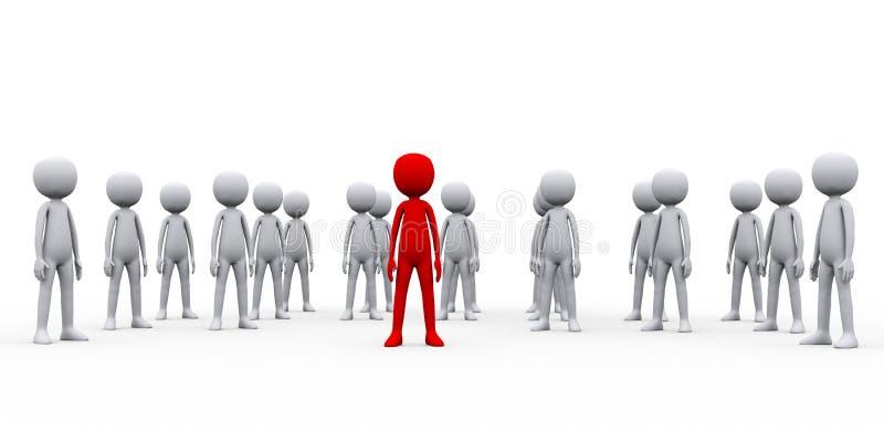 grupo de personas 3d con su líder del jefe libre illustration