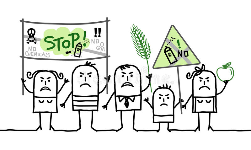 Grupo de personas de la historieta que protesta contra industria tóxica de la agricultura libre illustration
