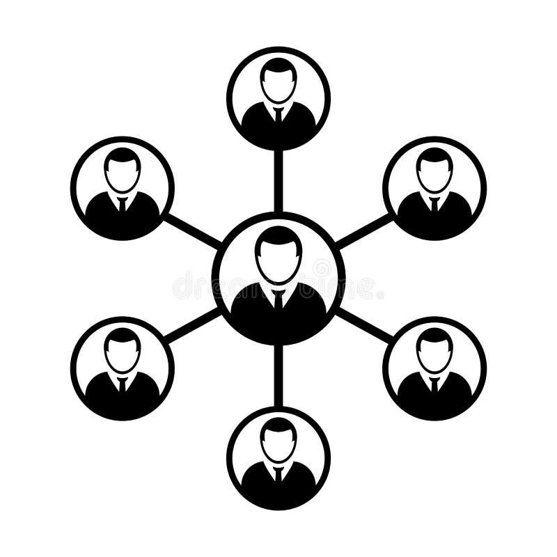 Grupo de personas del símbolo del vector del icono de la red y trabajo en equipo de la persona conectada del negocio ilustración del vector