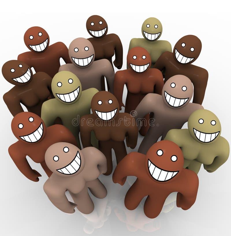 Grupo de personas diverso - caras sonrientes stock de ilustración
