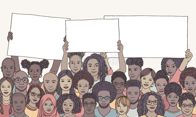 Grupo de personas diverso de color que lleva a cabo muestras vacías ilustración del vector