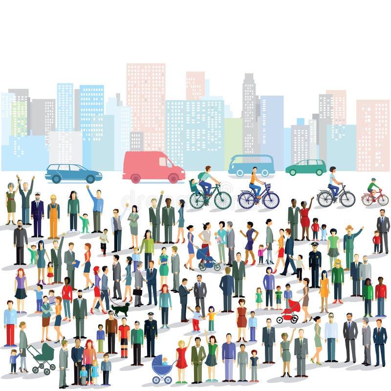 Grupo de personas en ciudad ilustración del vector