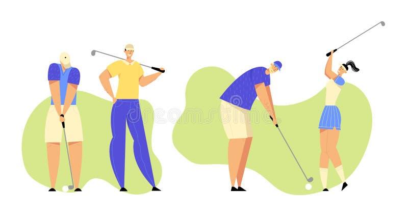 Grupo de personas en deportes en golf que juega uniforme en el campo verde, golpeando la bola para agujerear con el equipo profes ilustración del vector