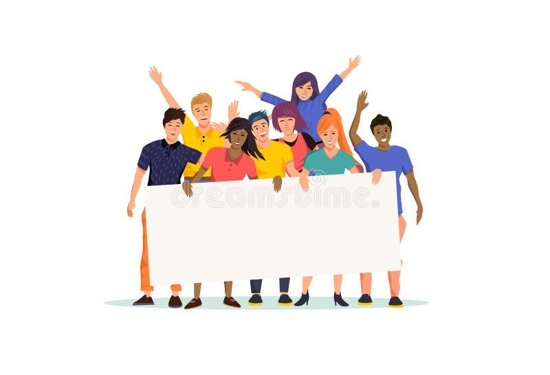 Grupo de personas feliz y emocionado que lleva a cabo una muestra en blanco ilustración del vector