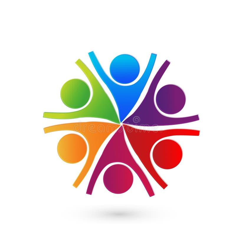 Grupo de personas, funcionamiento y tener del trabajo en equipo logotipo del éxito libre illustration