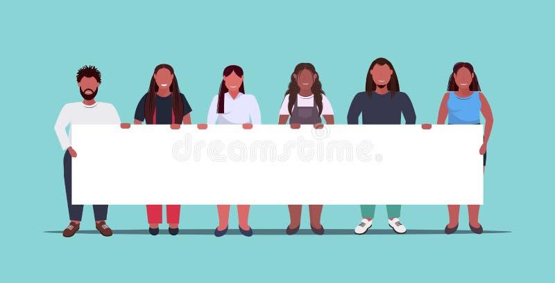 Grupo de personas gordas con sobrepeso sosteniendo pancartas vacías con el concepto de demostración obeso de hombres afroamerican stock de ilustración