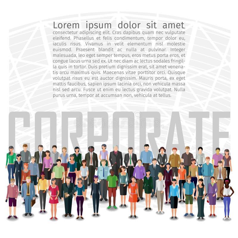 Grupo de personas grande stock de ilustración
