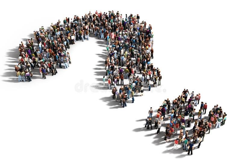 Grupo de personas grande con preguntas stock de ilustración